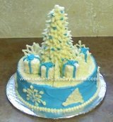 Blue and White holiday tree cake